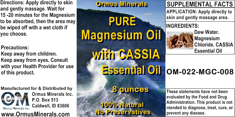 Ormus Mineral Pure Magnesium Oil with CASSIA Essential Oil