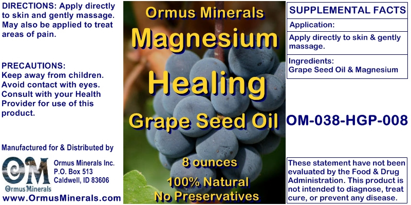 Ormus Minerals - Magnesium Healing Grape Seed Oil